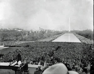After being denied access to perform at Constitution Hall by the Daughters of the American Revolution, Marian Anderson performed in front of over 75,000 people on the steps of the Lincoln Memorial. NATIONAL MUSEUM OF AMERICAN HISTORY