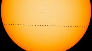 Composite image of Mercury's journey across the sun on May 9, 2016.