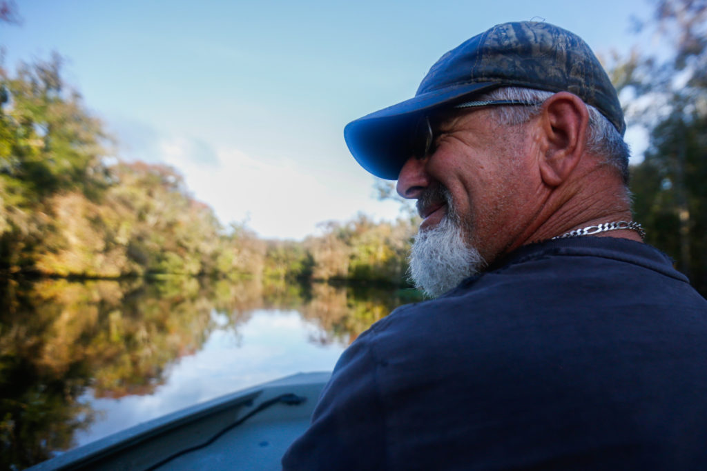 "Richie Smith laughs at a comment Alex Horton made while hunting on October 26, 2019. Earlier Smith said with a laugh that a mutual friend of the two didn't seem to like him too much, which prompted Horton to tease back, ""most people don't Richie."" [CHRIS DAY/Fresh Take Florida]"