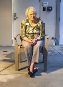 Diane McMillen's mother sitting in a chair